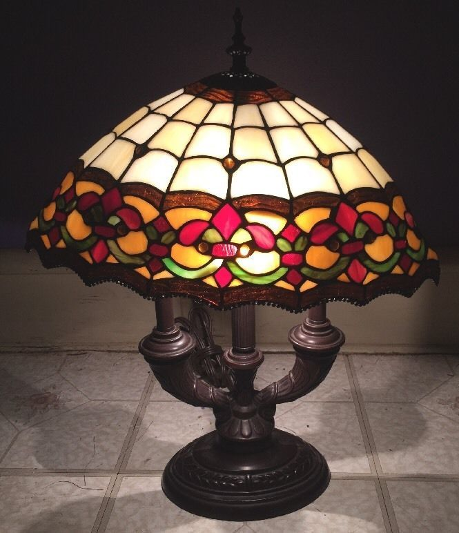 Vintage Dale Tiffany Brass Lamp With Oval Stained Glass Lamp Shade Brass Lamp Glass Lamp