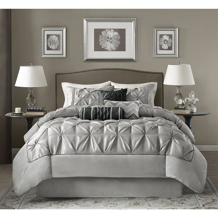 silver grey pinch pleated comforter king set plush pinched pleat