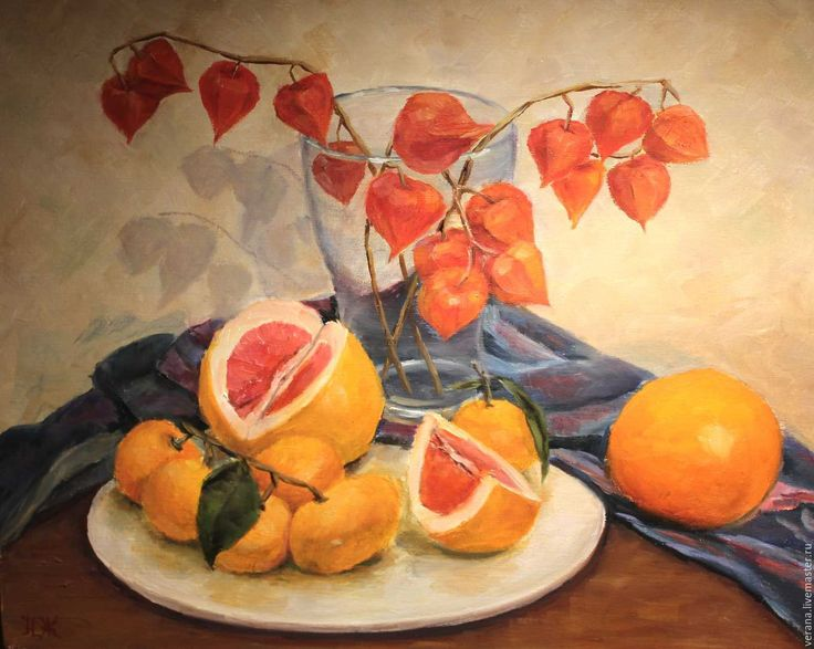 Купить Картина маслом. Натюрморт. Оранжевое настроение. - натюрморт с фруктами, натюрморт для кухни, яркая картина
