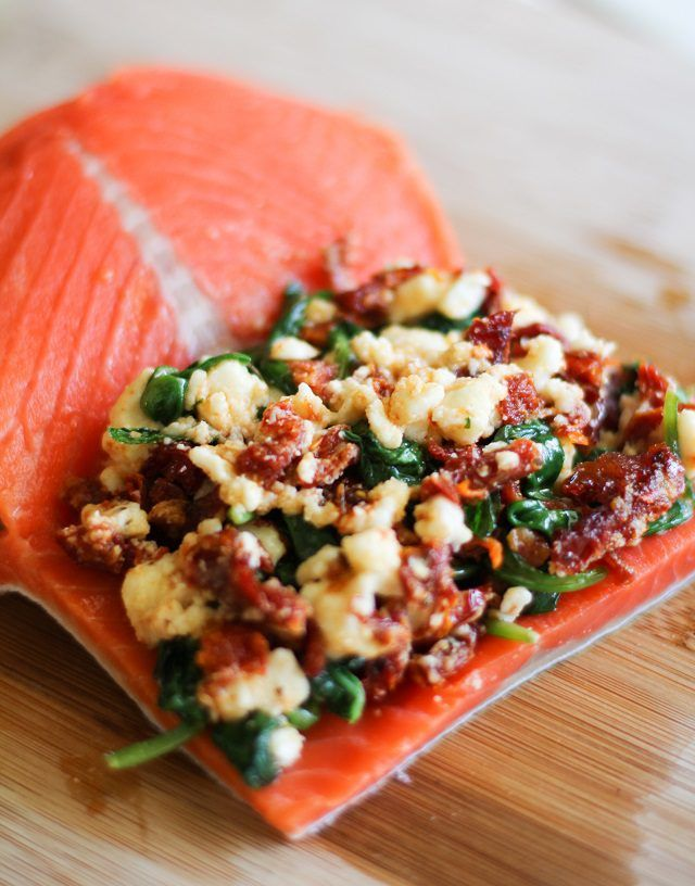 Sun-dried Tomato, Spinach & Feta Stuffed Salmon (or how about Bacon, Spinach & Goat Cheese...)