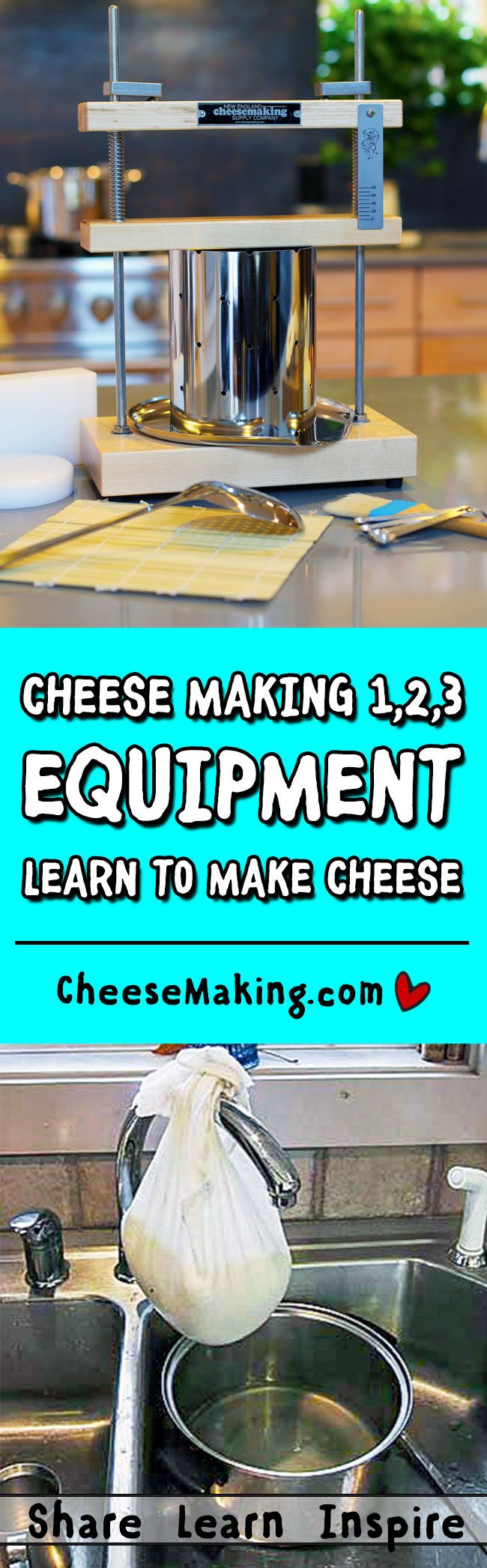 Learn about the equipment needed for making cheese at home and how to care for it. Cheesemaking.com