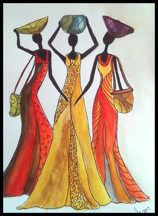 African Mixed Media Abstract Painting, Women Of Africa, Colourful Costume, Art £28.00