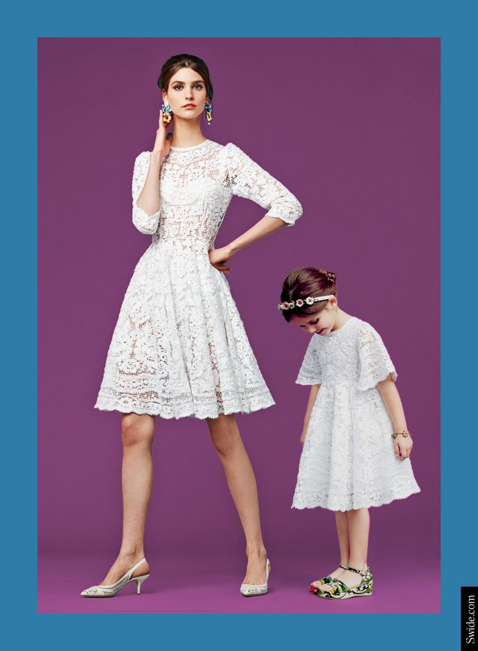 Dolce and Gabbana Fall Winter 2014-15 Mother and Daughter matching dresses ideas: Embroidered Net Dress