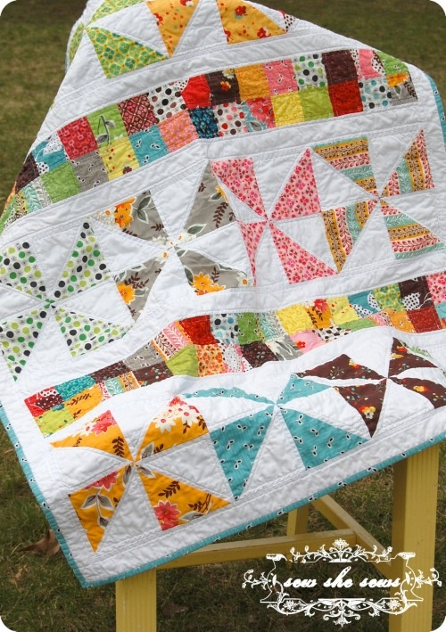 pinwheels and postage stamps quilt--cute and simple! using Flea Market Fancy Legacy