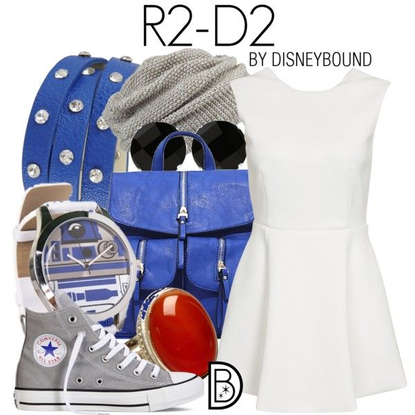 R2-D2 by leslieakay on Polyvore featuring Converse, FC Select Design, Allurez, George J. Love, R2, maurices, disney, disneybound, starwars and disneycharacter