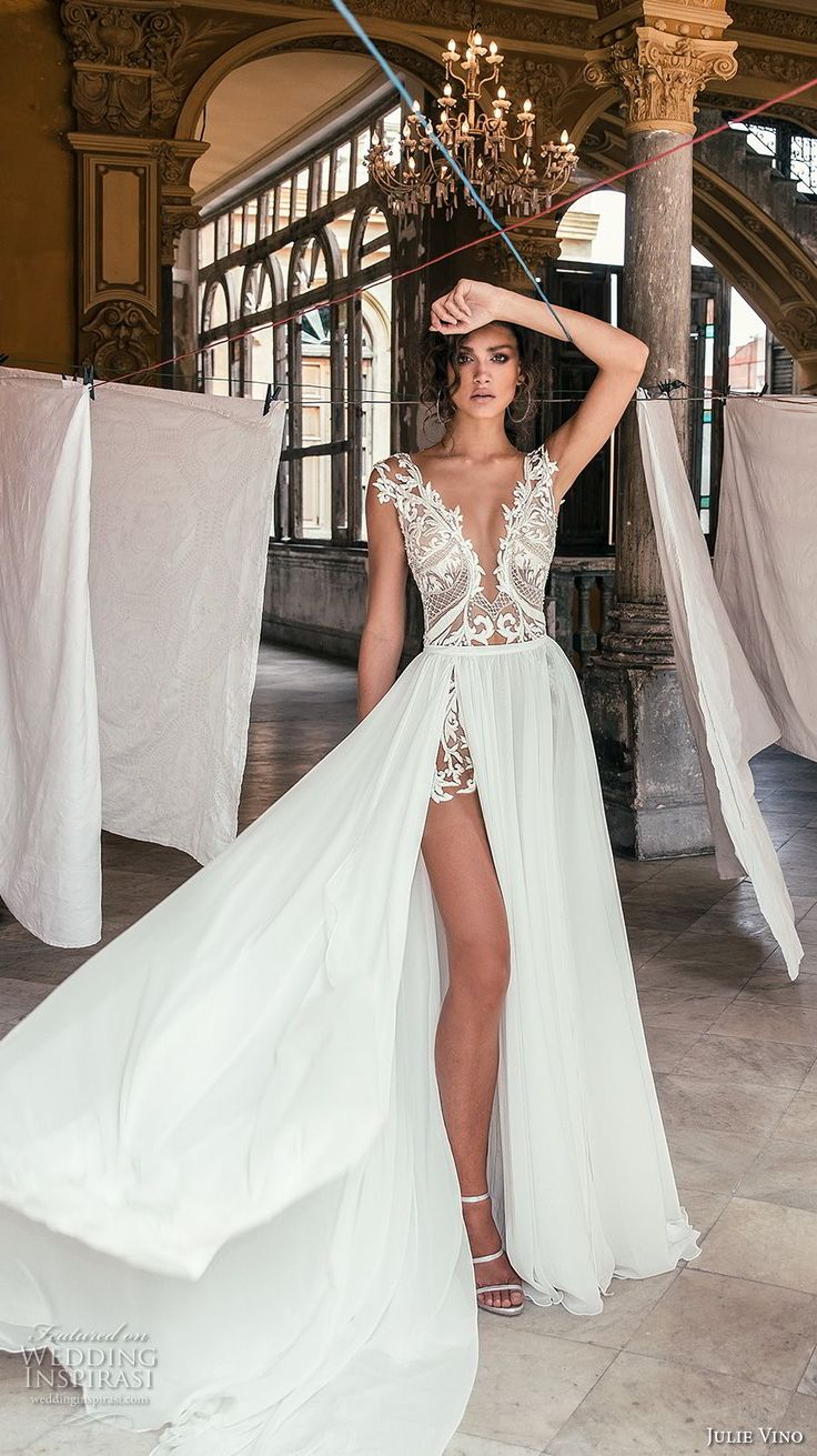 julie vino fall 2018 havana sleeveless deep v neck heavily embellished bodice high slit skirt romantic sexy soft a  line wedding dress sweep train (17) mv -- Julie Vino Fall 2018 Wedding Dresses