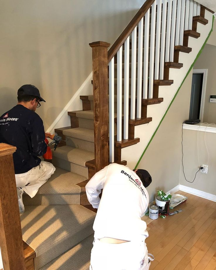 Finishing some stairs! #painter #professional #oakville #gta #toronto #mississauga #painting #staircase #stairs #realestate #staging #onlythiscan #interiordesign #interiordesigner #interiordecorating @christine_flack_design_group @benjaminmoore @thepaintersplace