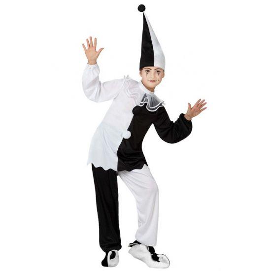 Pierrot clown kostuum voor kinderen. Zwart met wit pierrot clowntjes kostuum voor kinderen, inclusief broek, shirt en muts. In verschillende maten verkrijgbaar. Carnavalskleding 2015 #carnaval