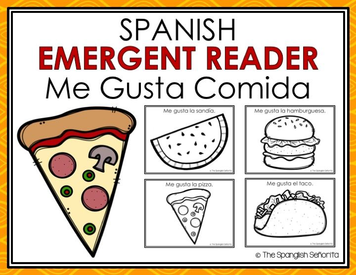 Spanish Emergent Reader - Me Gusta Comida (I Like Food)   This Emergent Reader Pattern Book was created to build confidence in our emerging readers, while teaching sight words as well as one-to-one word correspondence.  . . . . Keywords: November, Food, Comida, Guided Reading Books, Spanish Reading, Lectura Guiada, Libros en Español, Dual Immersion, Spanish Immersion