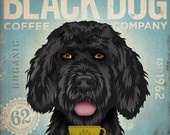 Black Dog Mutt Coffee Company original graphic illustration giclee archival signed artist's print 12 x 12. $39.00, via Etsy.