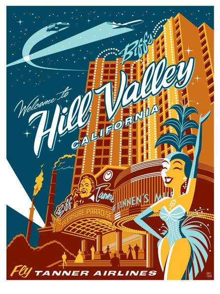 Back to the Future II Welcome to Biff's Hill Valley Retro Poster by Eric Tan