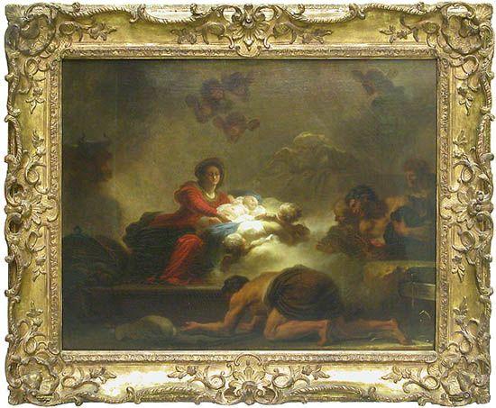 Jean-Honoré FRAGONARD (1732 - 1806) L'Adoration des bergers  Pendant du tableau Le verrou  Vers 1775  Toile H. : 0,73 m. ; L. : 0,93 m. Musée Du Louve Commandé par le marquis de Véri (1722-1785), amateur d'art.