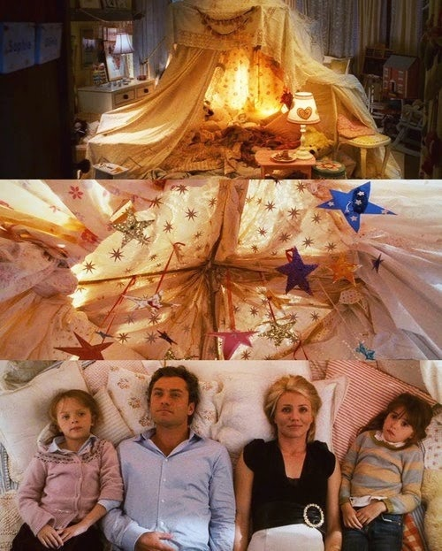 the holiday movie - tent in the bedroom. love it!