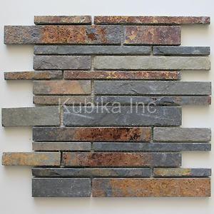 slate backsplash stone mosaic tile kitchen backsplash multicolor