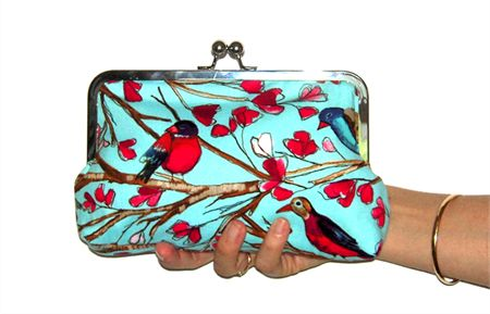 Blue Birdy Kiss Lock Purse 200mm Frame - Mumma Who Makes
