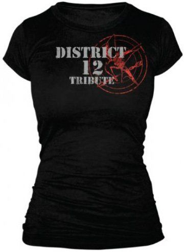 Amazon.com: The Hunger Games - Tribute Spray Juniors T-Shirt In Black: Clothing