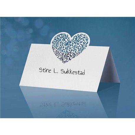 Dobbelt bordkort med Nydelig Hjerte  - 10 stk - Hvite