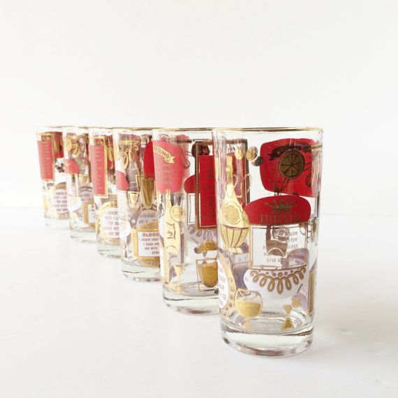 Set of six vintage midcentury Tom Collins or highball glasses with recipes for Mint Julep, Singapore Sling, Hiball, and Tom Collins cocktails.
