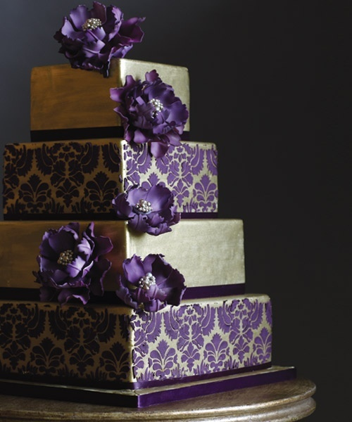 purple and  gold cake-- colors are great, don't like this particular design     ///////.     Vietnamese/English wedding invitation @ www.ThiepCuoiCali.com.        ///////////.