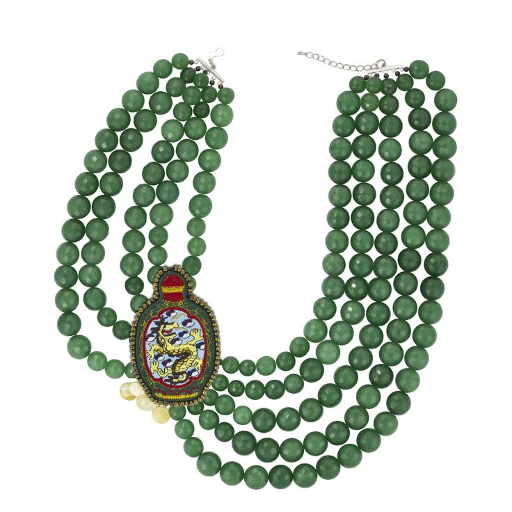 «Dragon in the bottle green agate necklace
