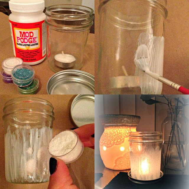 DIY Glitter Mason Jar Candle Holder