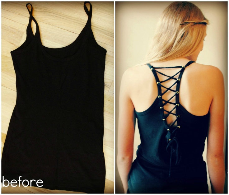 Trash To Couture: DIY. Plain tank into grommet racer back.
