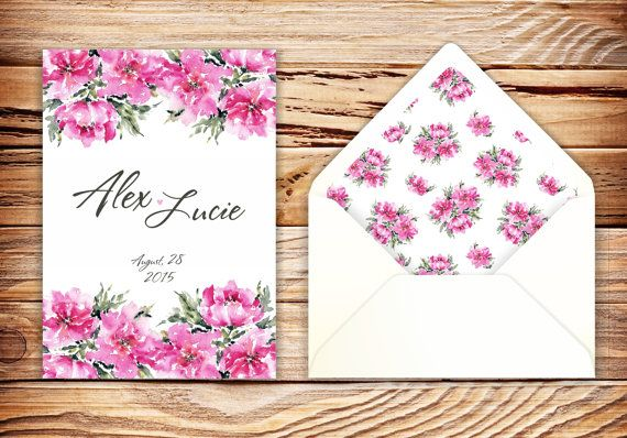Wedding invitation with watercolor design and floral envelope