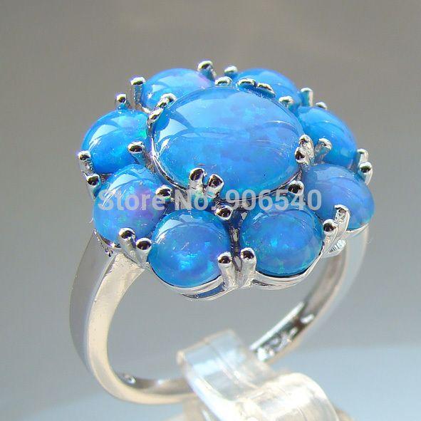Ювелирные Изделия Из Белого Золота Заполненные Синий Opal Обручальные Обручальные Кольца Ювелирные Изделия Для Женщин