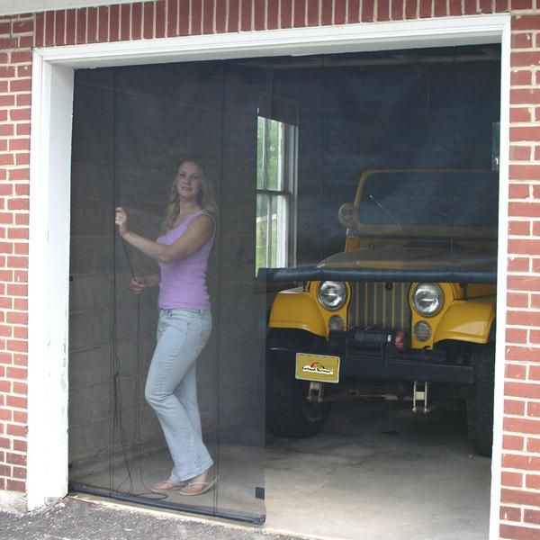 Attaches With Hook Loop Or Eye Hooks Black Fiberglass Screen Magnetic Closure In The Middle Easy To Attach Mor Garage Screen Door Screen Door Garage Doors