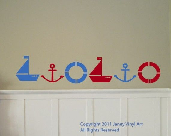 Sailboat Lifesaver Anchor  Border Stickers  Baby  by JaneyVinylArt, $19.95