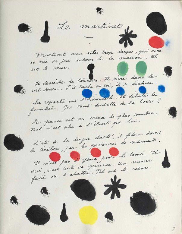 René Char, Poèmes, illustration de Miró, 1948, BnF, département des Manuscrits. © ADAGP
