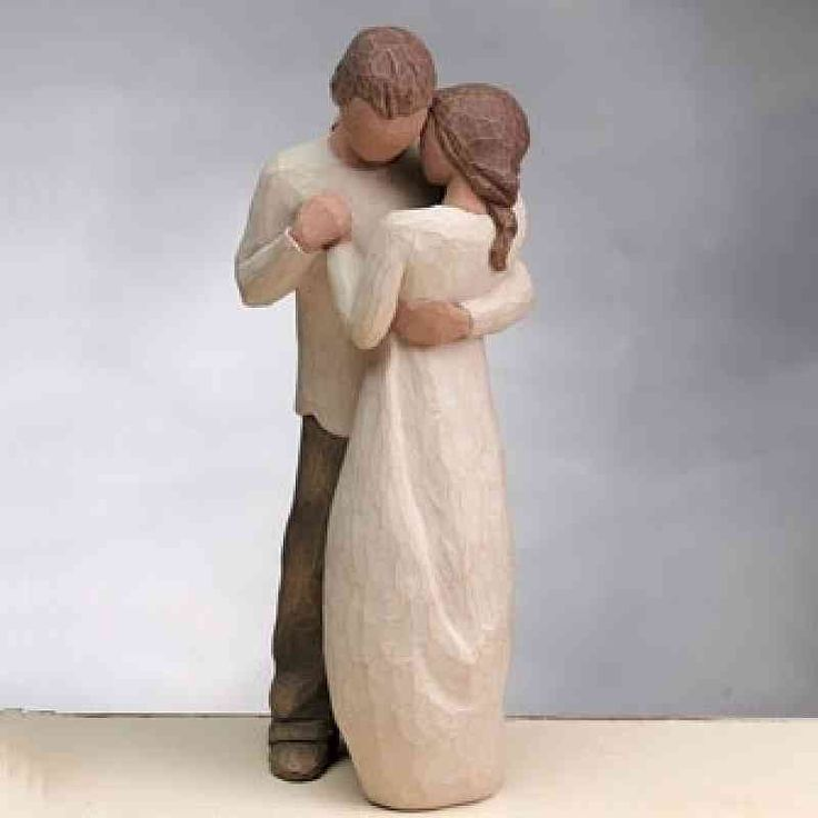 """Willow Tree ® """"Promise"""" Wedding Cake Topper Figurine  <br />Hold dear the promise of love.  Willow Tree® hand-carved sculptures speak softly to heal, comfort, protect and inspire. Susan Lordi identifies emotions so important for us to impart, and renders them in simple, pure gestures. This beautiful wedding figurine may serve as a perfect addition for your guestbook table, or to crown the top of your wedding cake. It also makes a great wedding gift!  Perfect for the wedding of any Willow…"""