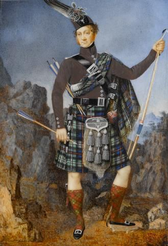 English School, The Rt. Hon. James Alexander Stewart MacKenzie Seaforth and Glasserton (1784-1843), wearing MacKenzie tartan kilt with matching plaid over brown coatee, sporan with six tassels and Regimental crest, dirk at his hip, sgian dubh tucked into his right tartan stocking, horn on a silver chain and sword belt across his chest, his cap adorned with feathers and a sprig of holly, in his left hand a bow, in his right hand an arrow with blue and white flight, two further arrows tucked…