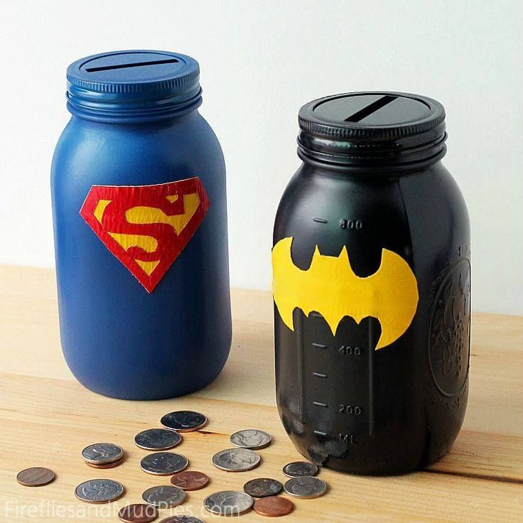 Savings Tip: Create superhero piggy banks for your kids using mason jars!