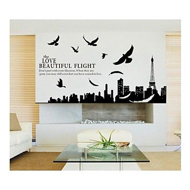 Wall Stickers Wall Decals, Style City Silhouette Of Paris PVC Wall Stickers - GBP £ 12.59