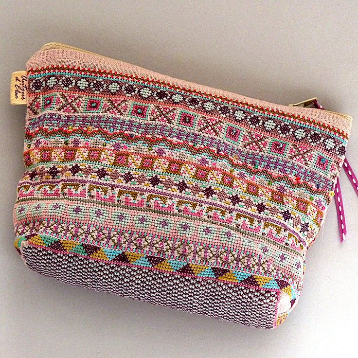 Embroidered Makeup Bag / Bohemian Style Geometric Pattern