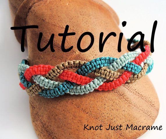 Micro Macrame Tutorial - pulsera de trenzas - patrón - bricolaje - fabricación de la joyería - bricolaje