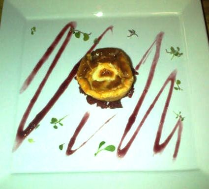 Double Baked Goat Cheese Souffles with Red Wine Gelee & Beetroot Chutney