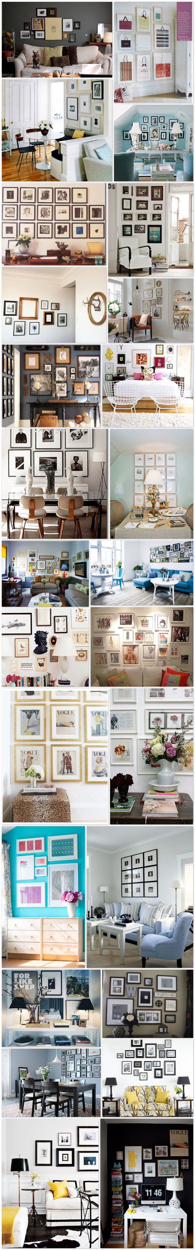Wall Decor Ideas - its in spanish but there are some great layouts for frames.