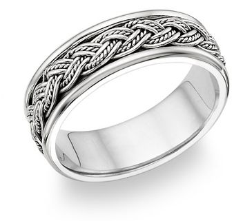 Mens Platinum Wedding Rings - Fisherman knot ring - strongest knot