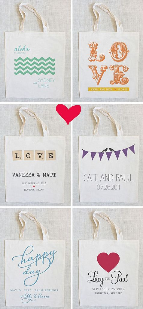tote bag favors for weddings or birthdays...or any event really!  Super cute!  Not sure about how expensive that would be, though...