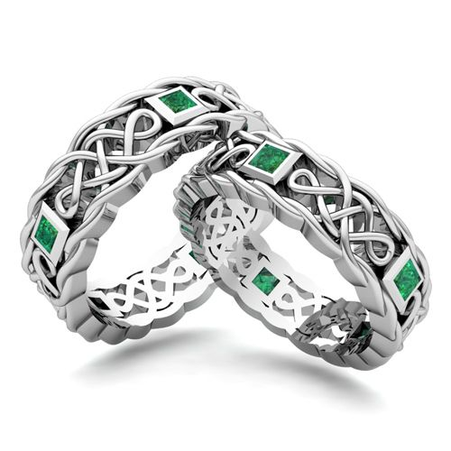Matching Celtic Knot Wedding Band in 14k Gold Emerald Wedding Ring. This custom made wedding ring set showcases matching Celtic knot wedding bands for him and her with princess cut emeralds set in 14k gold from My Love Wedding Ring.