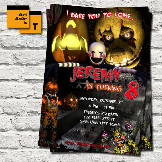 FNAF Birthday Invitation Five Nights at Freddys by ArtAmoris