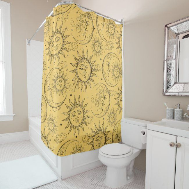 Yellow Magic Vintage Celestial Sun Moon Stars Shower Curtain Zazzle Com In 2020 Yellow Bathroom Decor Yellow Shower Curtains Star Shower