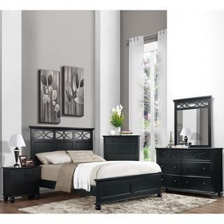 Celine 5-piece Mirrored and Upholstered Tufted Queen-size Bedroom Set - Overstock Shopping - Big Discounts on Bedroom Sets #blackbedroomfurniture