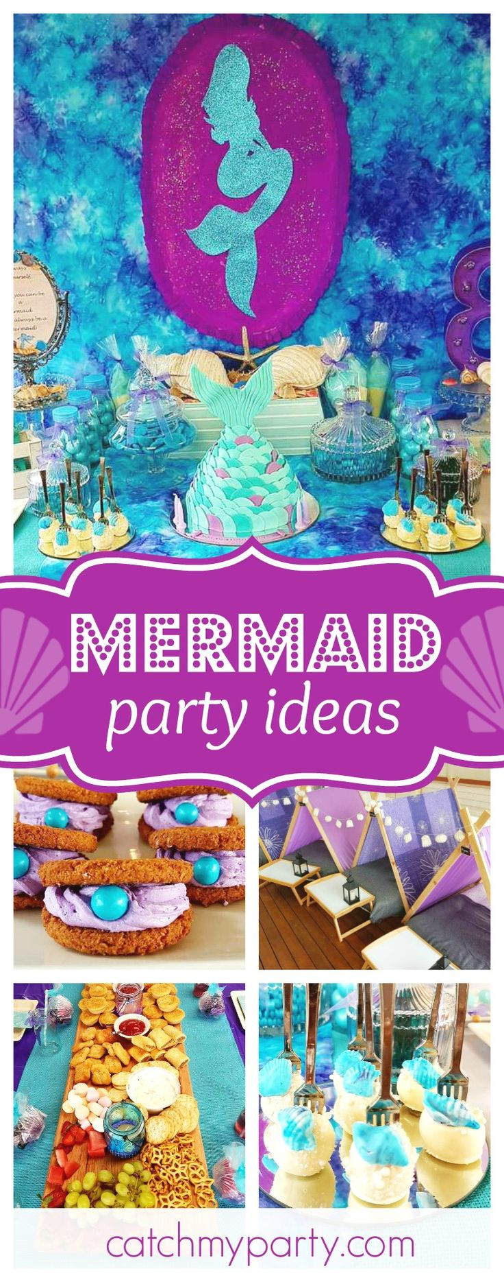Take a look at this pretty Mermaid birthday party! The Mermaid tail birthday cake is gorgeous!! See more party ideas and share yours at CatchMyParty.com