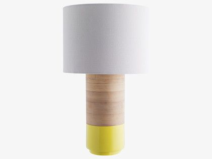 TUB YELLOWS Bamboo Yellow spun bamboo table lamp with fabric shade - HabitatUK