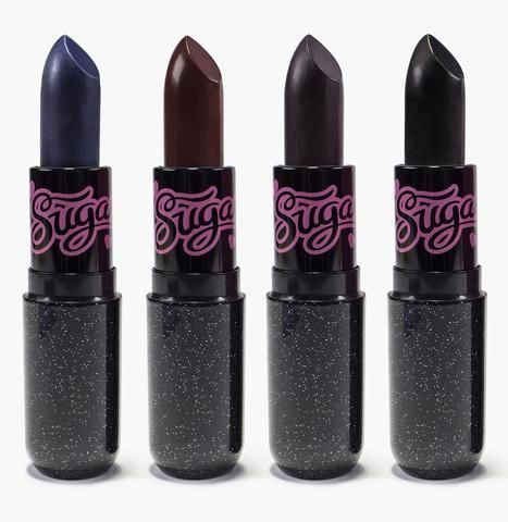 Pretty Poison Bundle (Black Edition) By Sugarpill Cosmetics - Lusting after all 4 Black Edition Pretty Poison lipsticks? Get the whole collection in one easy click! Bundle includes Shiver (cobalt blue), Anti-Socialite (blackened burgundy), Dark Sided (deep plum), and Zero (true black).