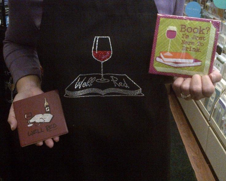 Wine and Book Club.  Apron, Napkins, Coasters