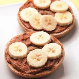 Bagel Gone Bananas. Whole wheat bagel or English muffin with peanut butter